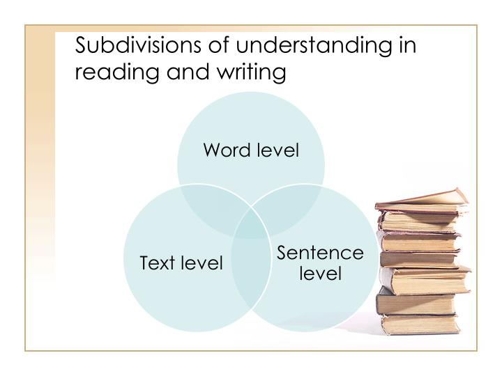 Subdivisions of understanding in reading and writing