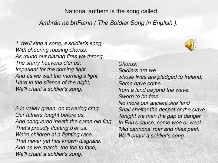 National anthem is the song called