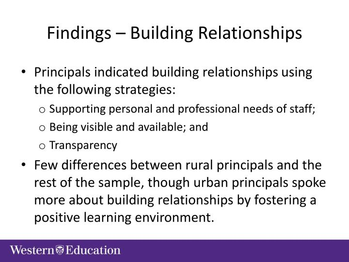 Findings – Building Relationships