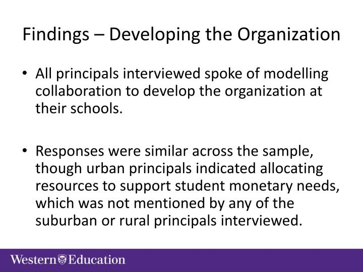 Findings – Developing the Organization