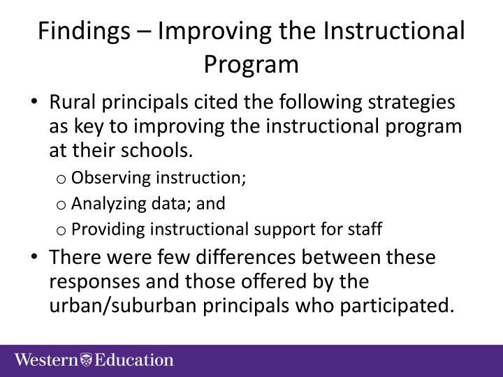 Findings – Improving the Instructional Program