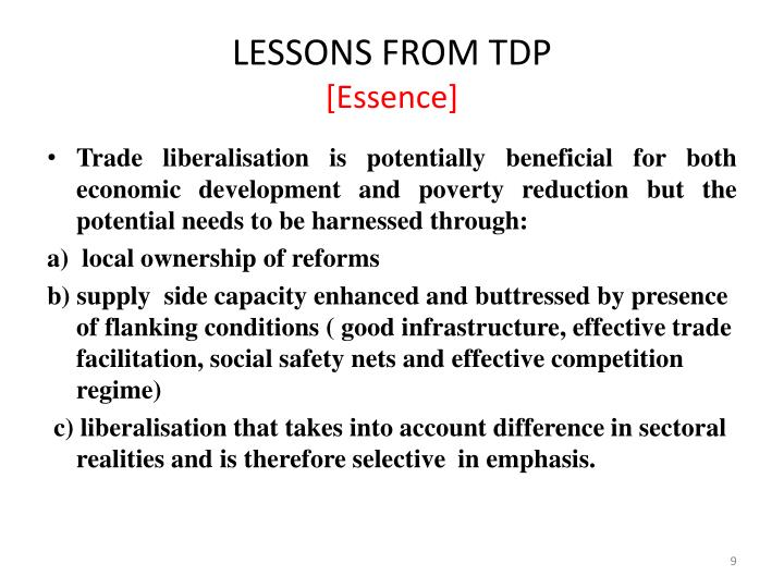 LESSONS FROM TDP