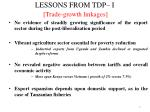 lessons from tdp i trade growth linkages