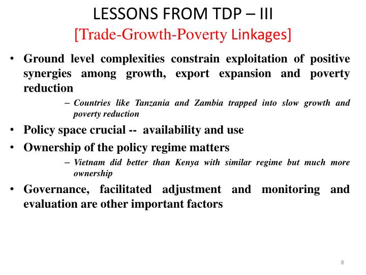 LESSONS FROM TDP – III