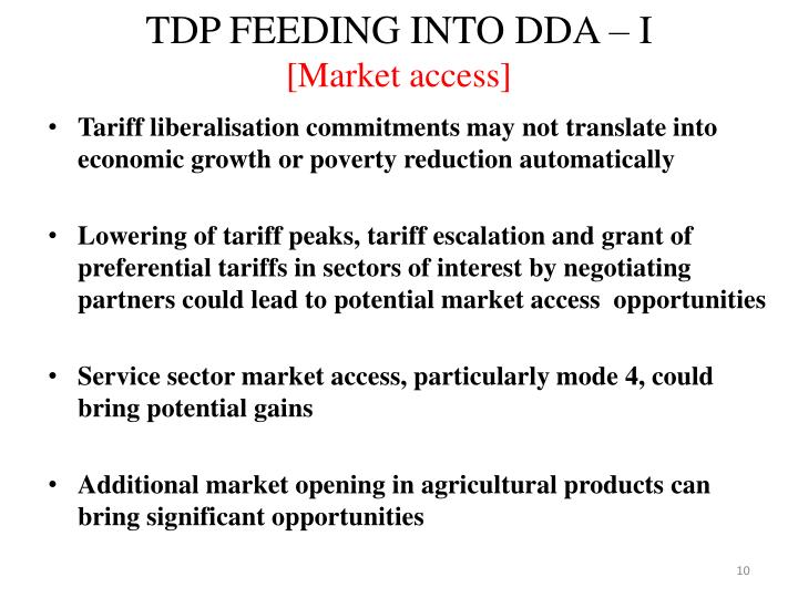 TDP FEEDING INTO DDA – I