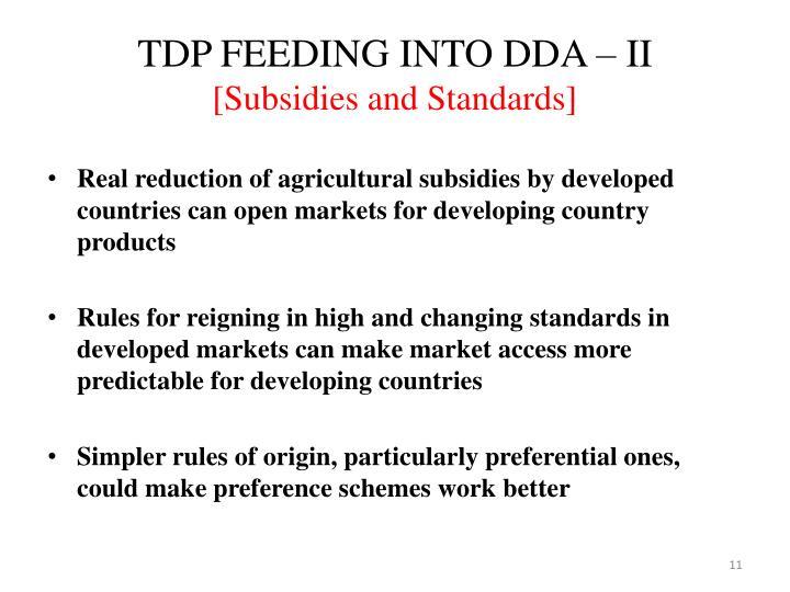 TDP FEEDING INTO DDA – II