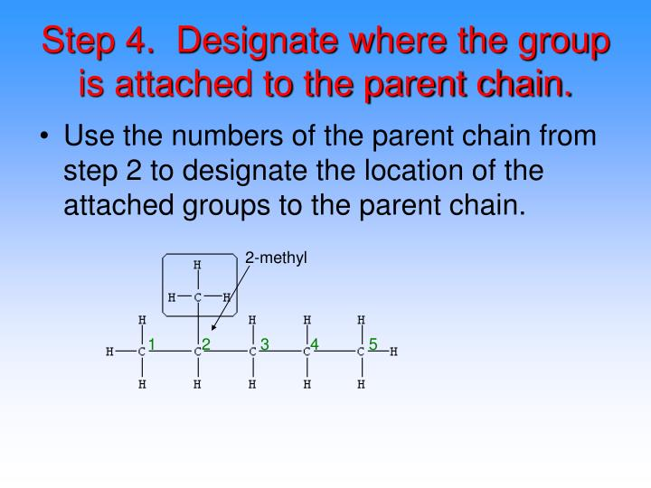 Step 4.  Designate where the group is attached to the parent chain.
