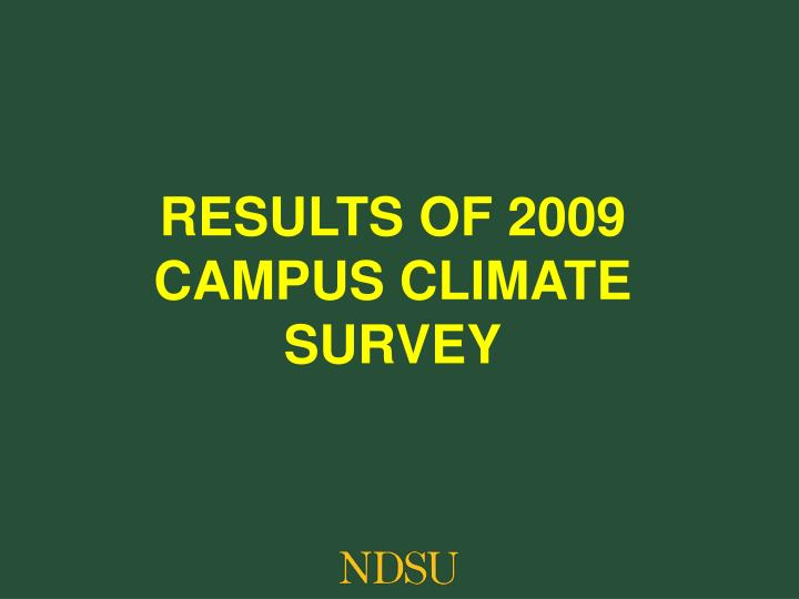 Results of 2009 Campus climate survey