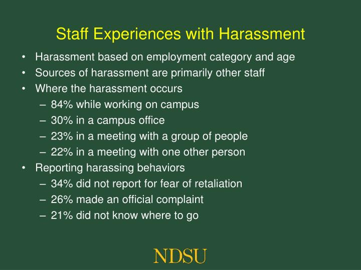 Staff Experiences with Harassment