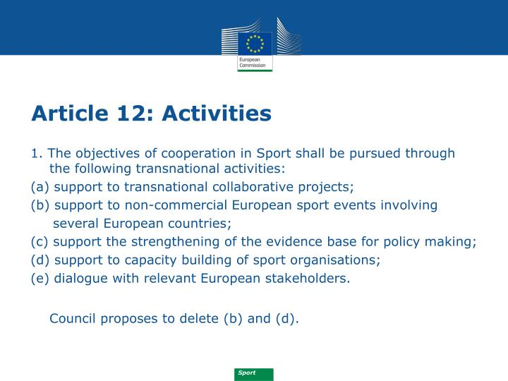 Article 12: Activities