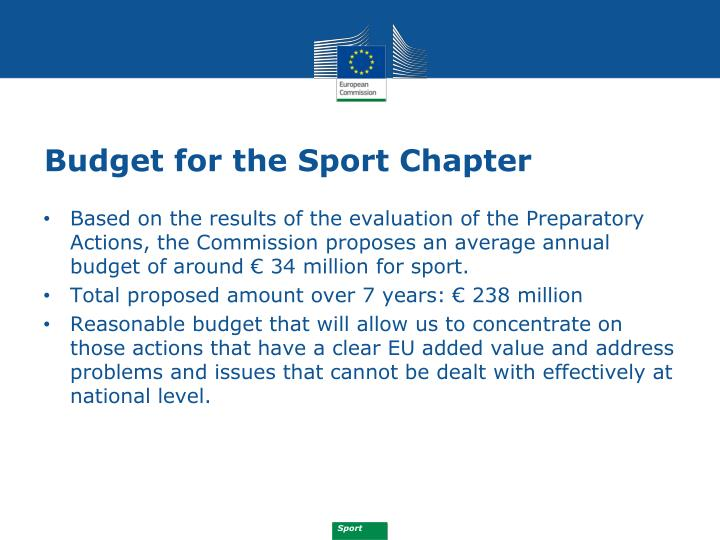 Budget for the Sport Chapter