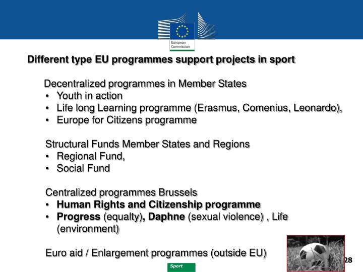 Different type EU programmes support projects in sport