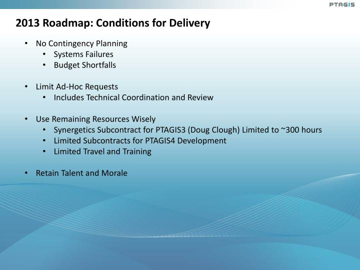 2013 Roadmap: Conditions for Delivery