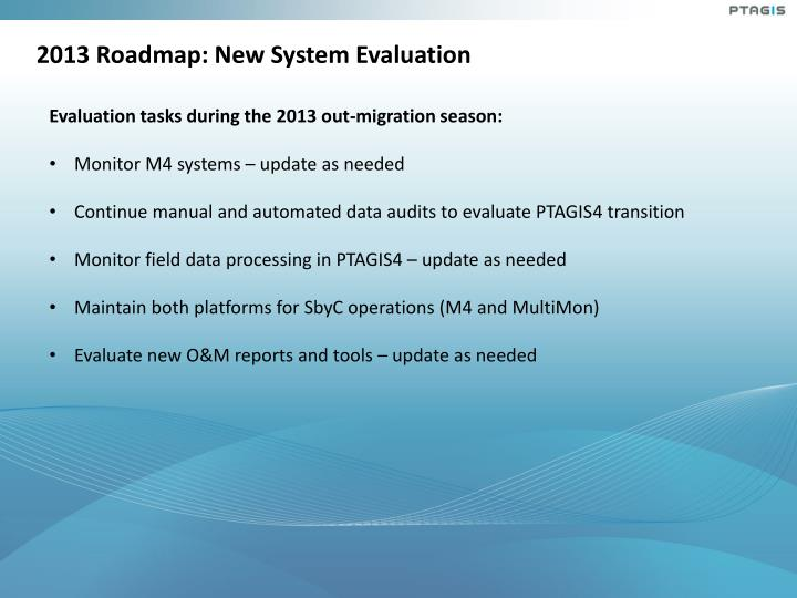 2013 Roadmap: New System Evaluation