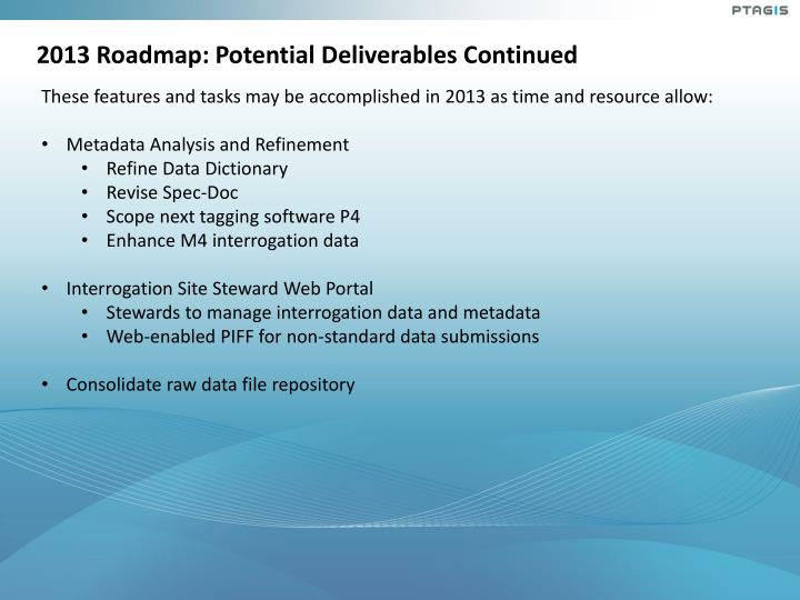 2013 Roadmap: Potential Deliverables Continued