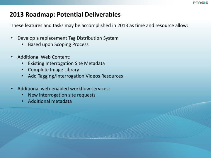 2013 Roadmap: Potential Deliverables