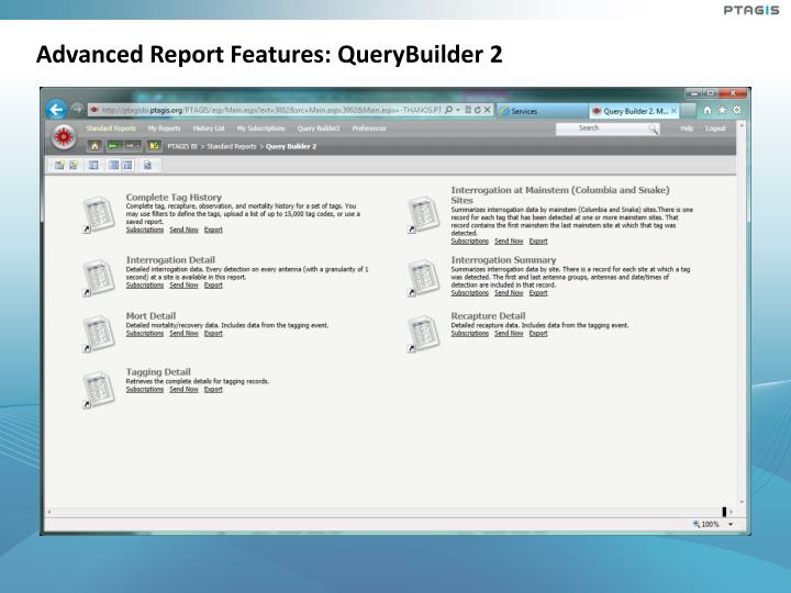 Advanced Report Features: QueryBuilder 2