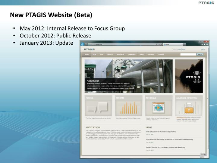 New PTAGIS Website (Beta)