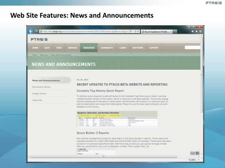 Web Site Features: News and Announcements