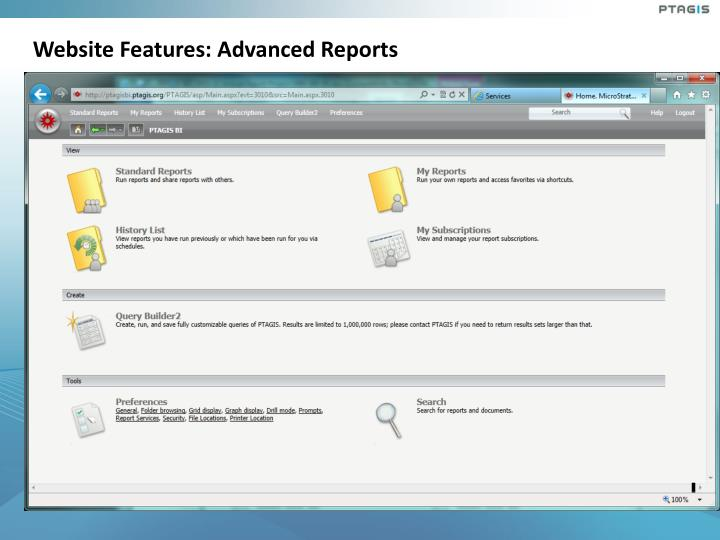 Website Features: Advanced Reports