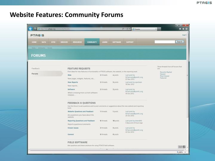 Website Features: Community Forums