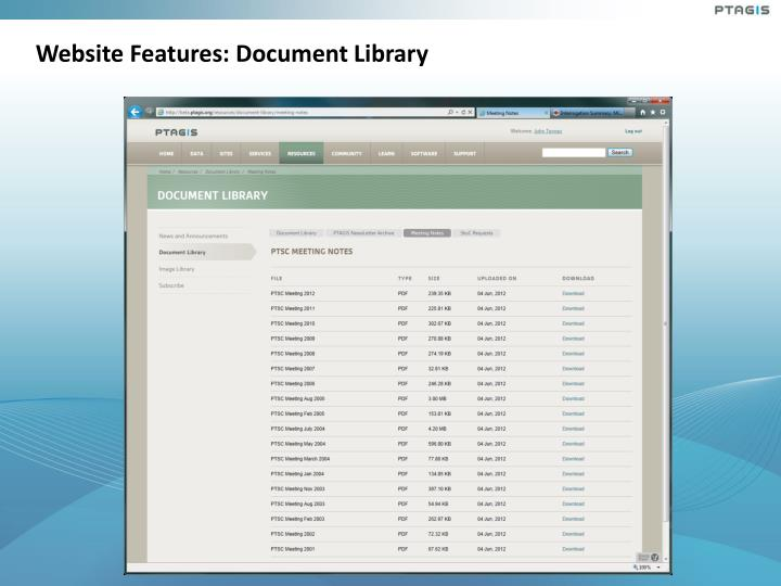 Website Features: Document Library