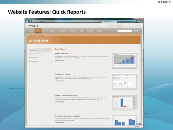 Website Features: Quick Reports