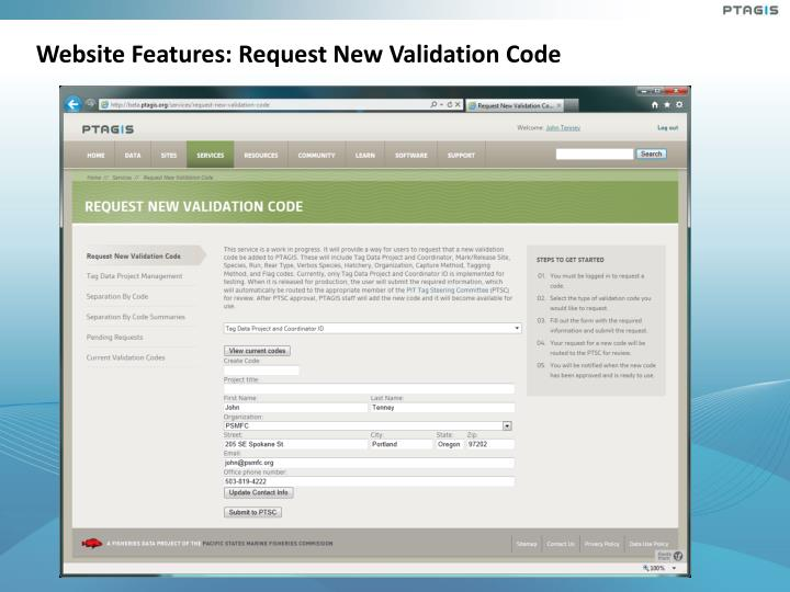 Website Features: Request New Validation Code