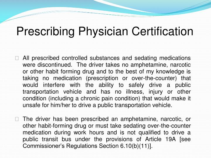 Prescribing Physician Certification