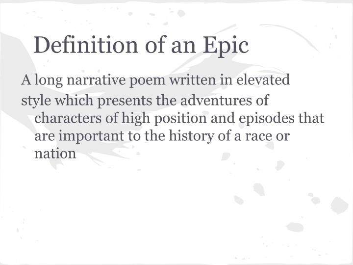 Definition of an Epic