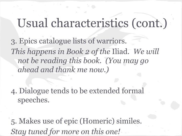 Usual characteristics (cont.)