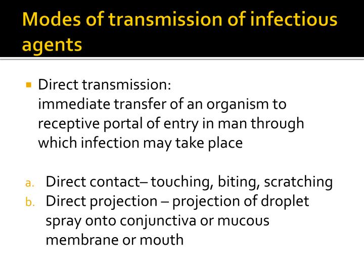 Modes of transmission of infectious agents