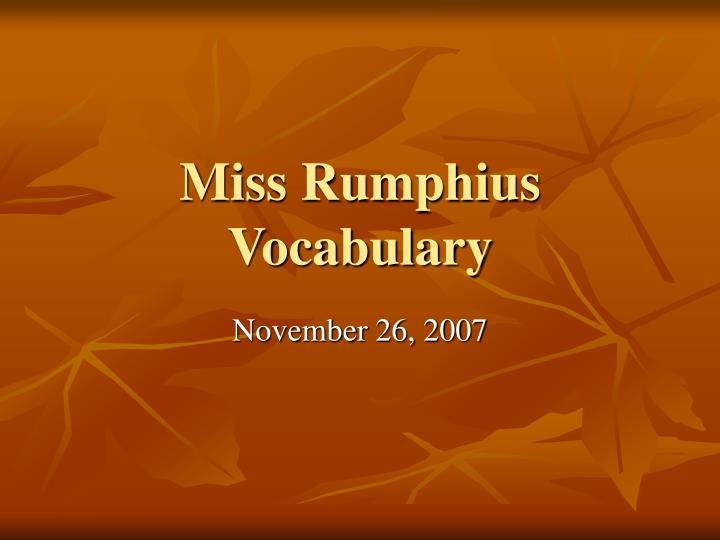 Miss rumphius vocabulary