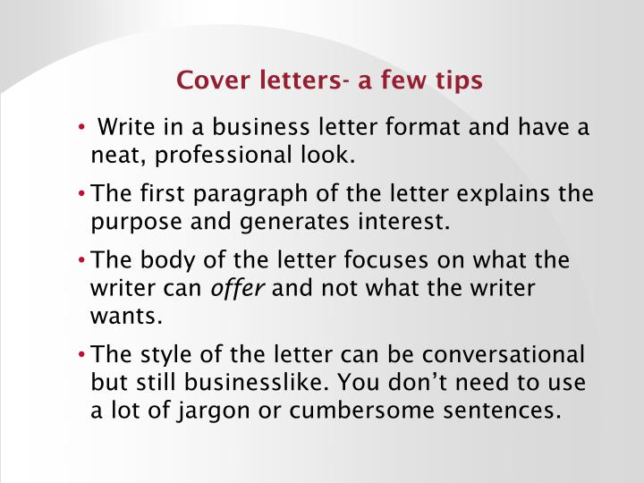 Cover letters- a few tips