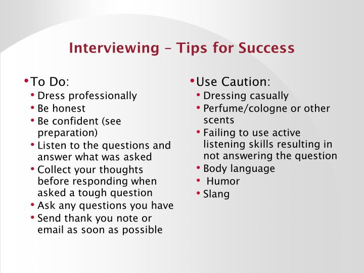 Interviewing – Tips for Success
