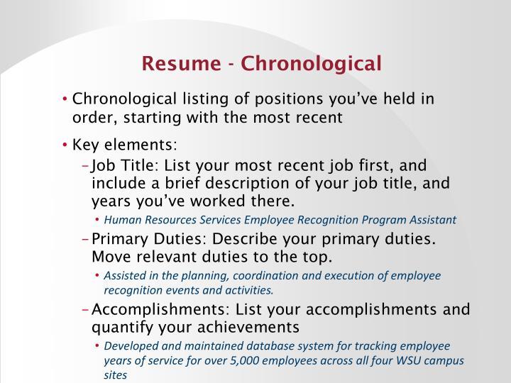 Resume - Chronological