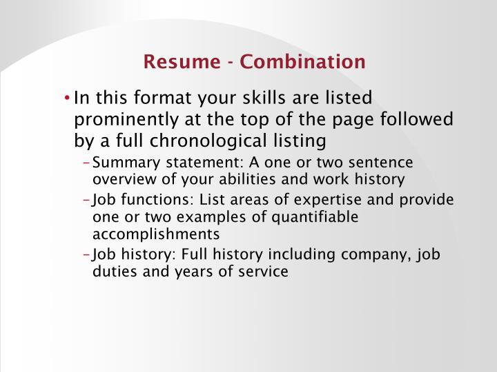 Resume - Combination