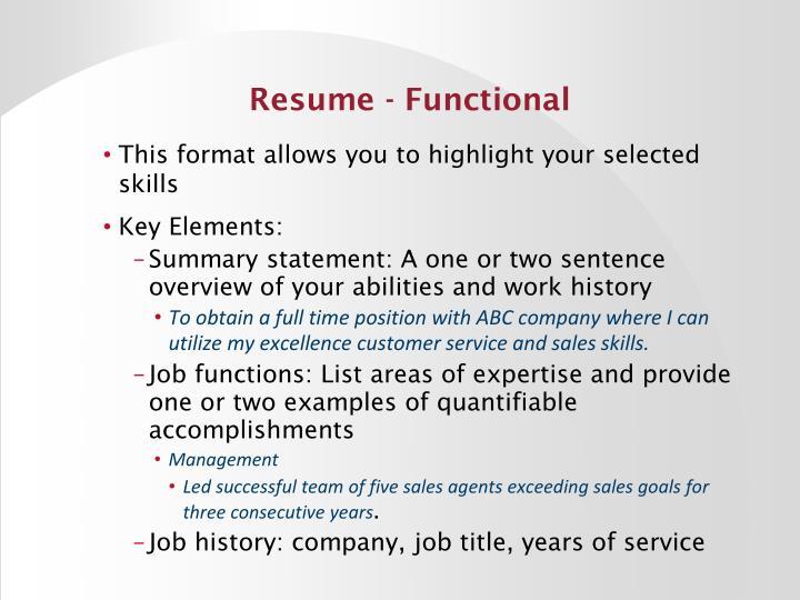 Resume - Functional