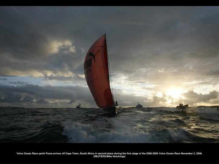 Volvo Ocean Race yacht Puma arrives off Cape Town, South Africa in second place during the first stage of the 2008-2009 Volvo Ocean Race November 2, 2008. (REUTERS/Mike Hutchings)