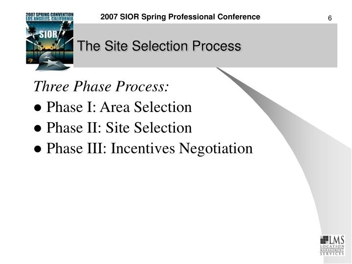 The Site Selection Process