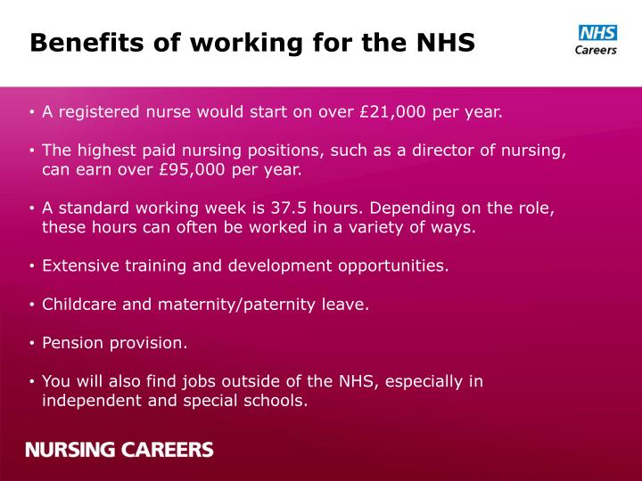 Benefits of working for the NHS