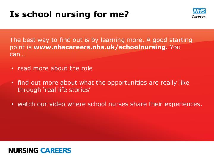 Is school nursing for me?