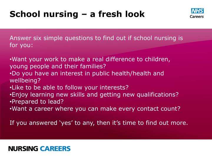 School nursing – a fresh look
