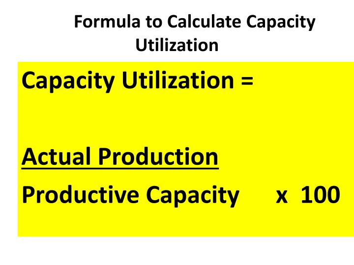 Formula to Calculate Capacity Utilization