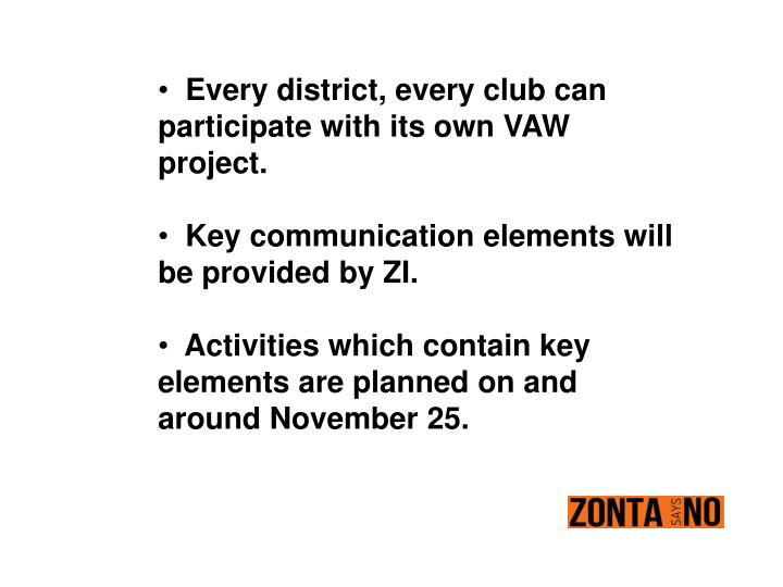 Every district, every club can participate with its own VAW project.
