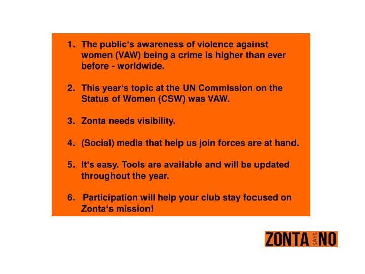 The public's awareness of violence against women (VAW) being a crime is higher than ever before - worldwide.