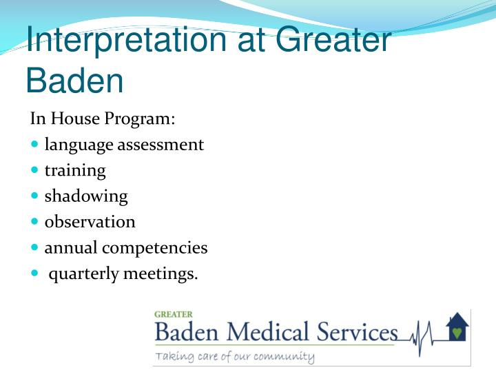 Interpretation at greater baden