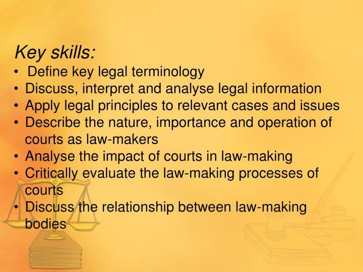 Key skills: