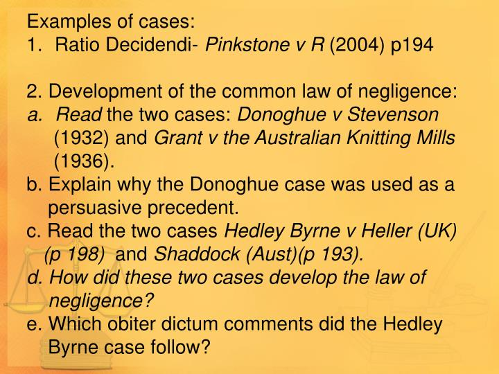 Examples of cases: