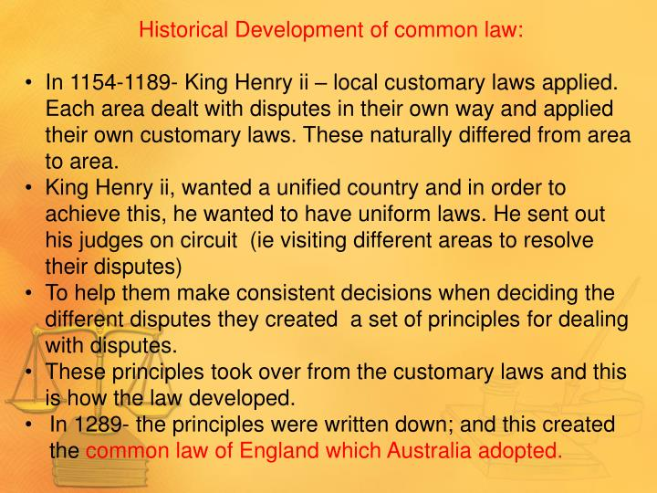 Historical Development of common law: